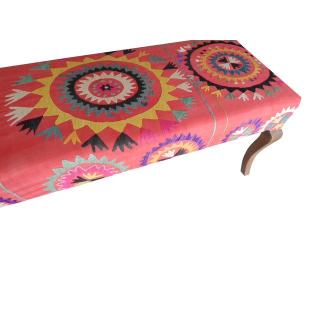 1980s Set of 5 Suzani Covered Bench Handmade Ottoman From Anatolian With 4 Pieces Footstool For Sale - Image 5 of 13