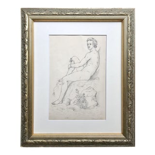 19th Century Antique Neoclassical Male Nude Graphite Drawing For Sale