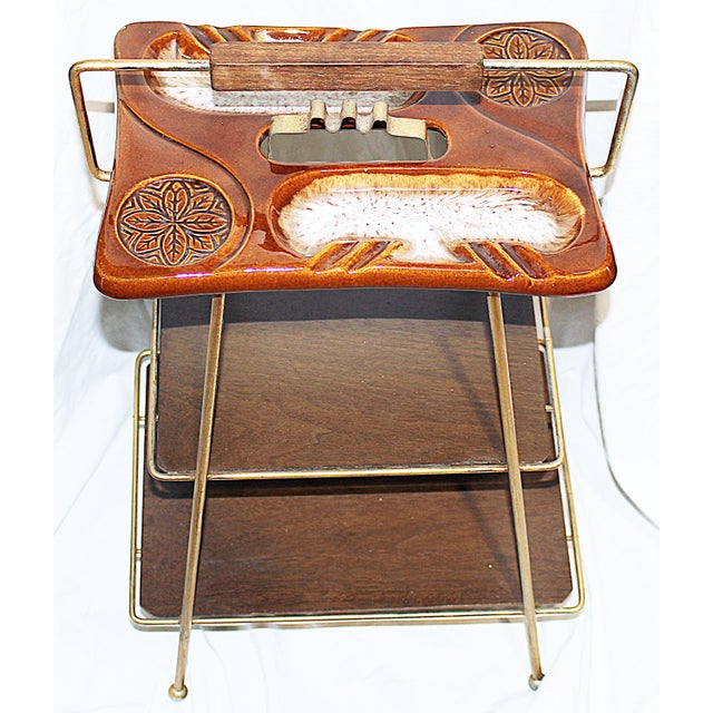 Mid-Century Modern Metal & Ceramic Smoking Stand - Image 4 of 8