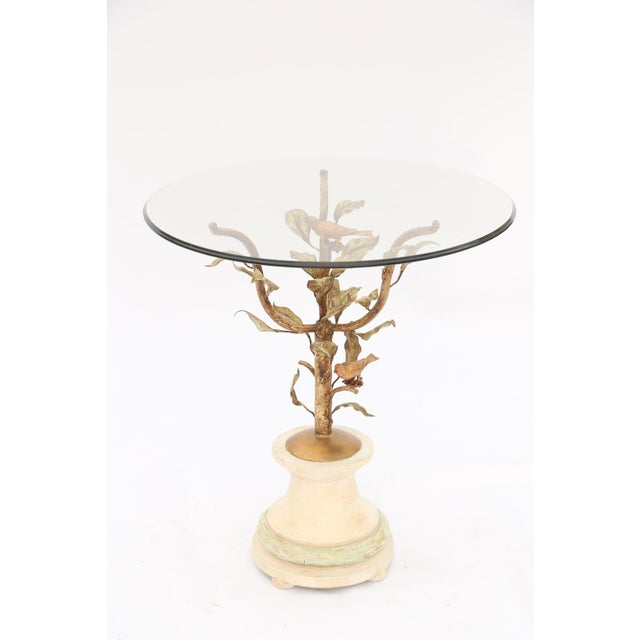 Gilded Iron Occasional Table with Glass Top For Sale - Image 4 of 10