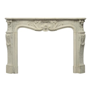 19th Century Louis XV French White Marble Antique Fireplace Mantel For Sale