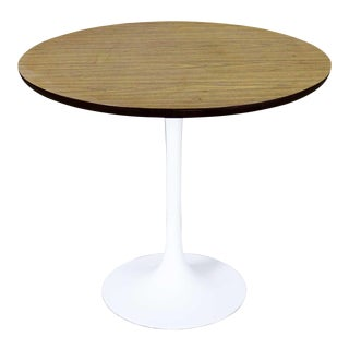 Vintage Saarinen Style White Tulip Base Table Light Woodgrain Laminate Top For Sale
