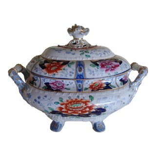 19th Century Vintage English Transfer-Decorated Ironstone Tureen For Sale