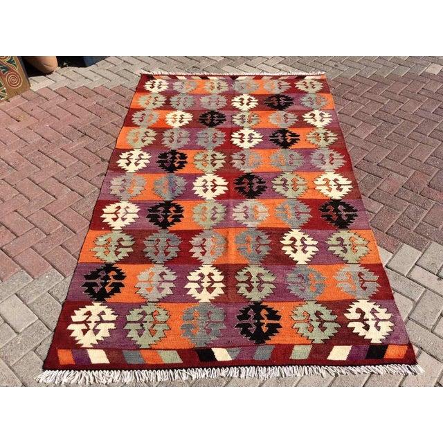 Vintage Turkish Kilim Rug For Sale - Image 10 of 10