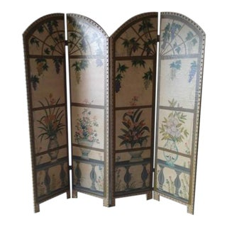 Hand Painted 4-Panel Screen For Sale
