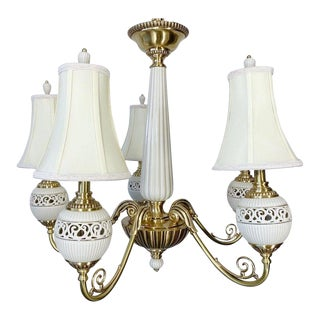 Brass and Ceramic Five Light Chandelier by Lenox For Sale