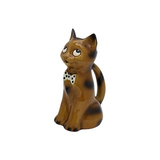 French Majolica Cat Water Pitcher For Sale
