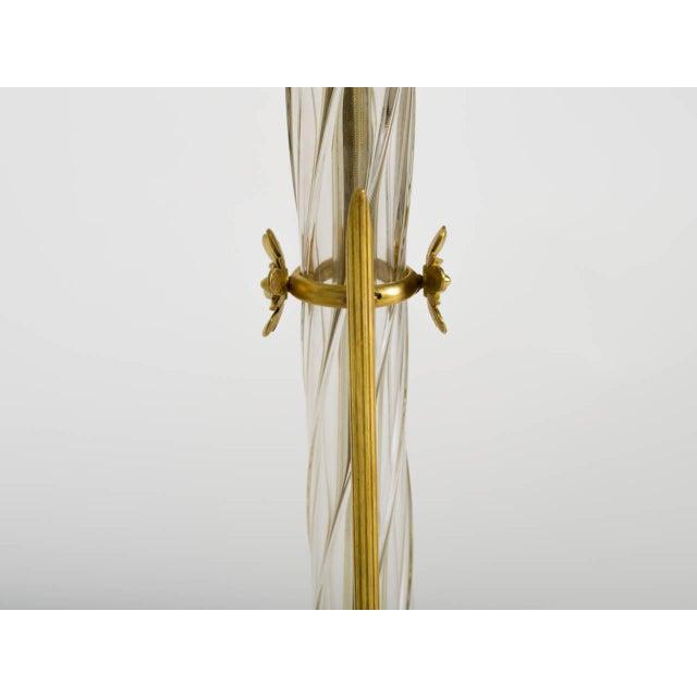 Art Nouveau Art Nouveau Brass and Art Glass Lamps - a Pair For Sale - Image 3 of 8