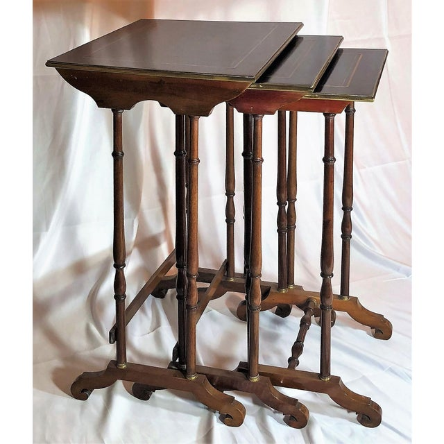 Empire Antique French Mahogany With Bronze Inlay Nest of Tables , Over 100 Years Old. For Sale - Image 3 of 7