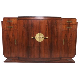 French Art Deco Rosewood Sideboard Buffet Cabinet in Manner of Jules Leleu For Sale
