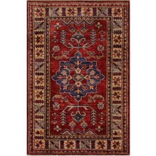 Tribal Super Kazak Zenaida Red/Beige Hand-Knotted Wool Rug - 2'1 X 3'0 For Sale