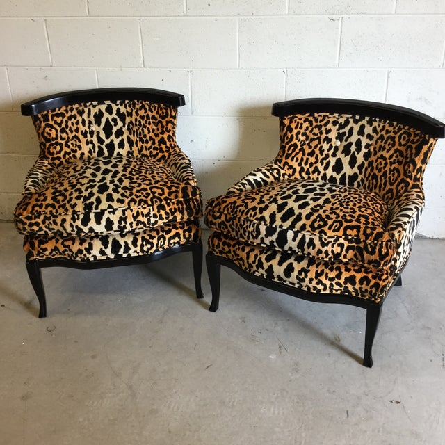 Velvet Leopard Print Slipper Chairs - a Pair - Image 9 of 11