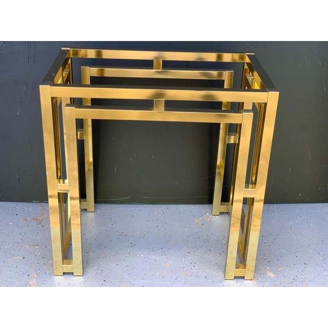 Milo Baughman Style Brass Table Base For Sale - Image 4 of 12