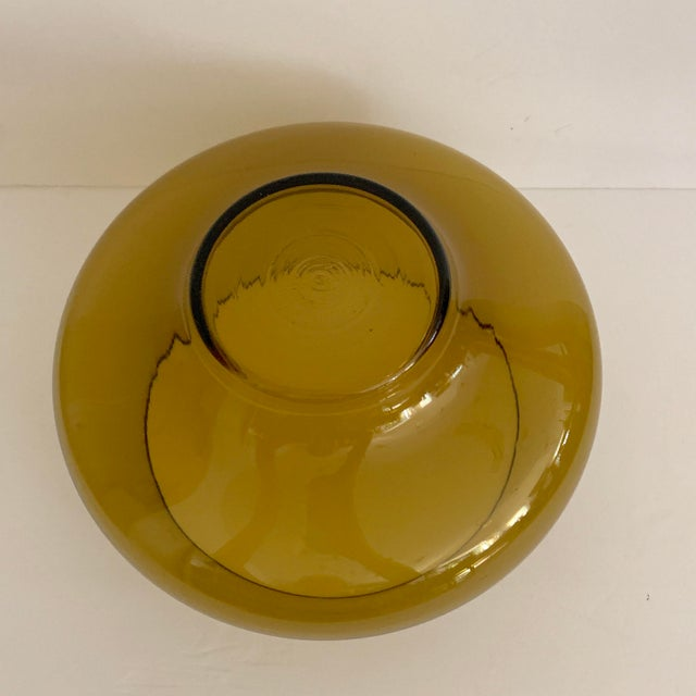 Contemporary Mid Century Amber Glass Centerpiece Large Salad Bowl For Sale - Image 3 of 8