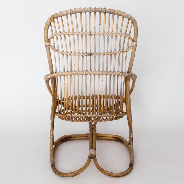 Franco Albini Rattan Lounge Chair & Ottoman For Sale - Image 9 of 11