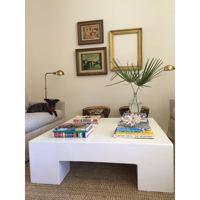 Contemporary Minimalist Modern White Plaster Coffee Table For Sale - Image 3 of 3