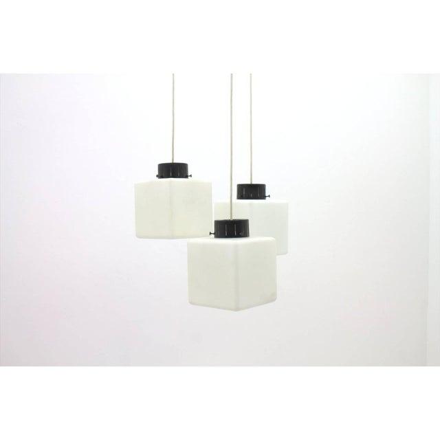 Stilnovo Set of Three Milk Glass Cube Pendants by Stilnovo, Italy, 1960s For Sale - Image 4 of 8