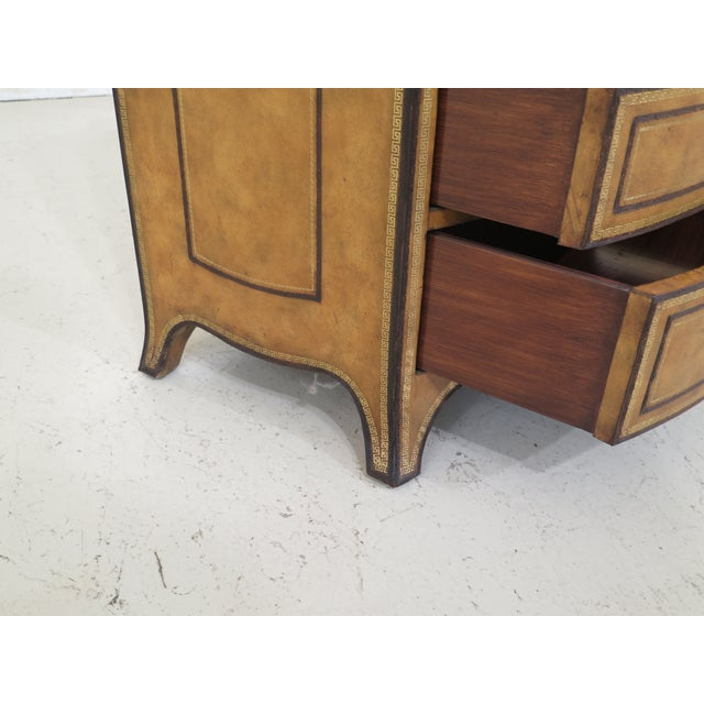 Maitland - Smith 1990s Art Deco Maitland Smith Bow Front Leather Bachelor Chest For Sale - Image 4 of 13