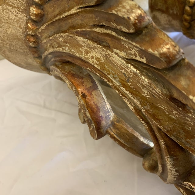 Carved Gilt Wood Wall Brackets -Pair For Sale - Image 9 of 12