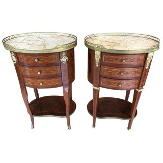 19th Century Louis XV Marble Top Mahogany Nightstands - a Pair