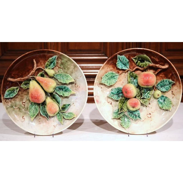 19th Century French Hand-Painted Barbotine Plates With Apples and Pears - a Pair For Sale - Image 4 of 10