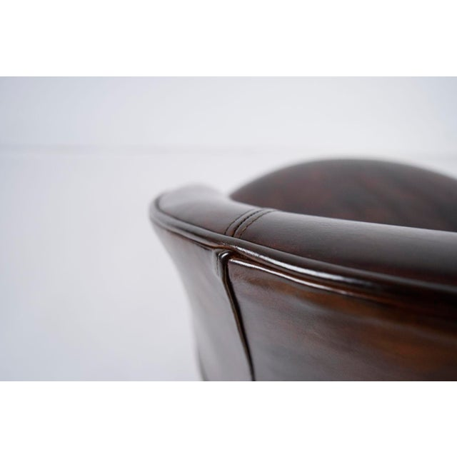 Vintage Art Deco Style Leather Accent Chairs - Set of 4 - Image 8 of 10