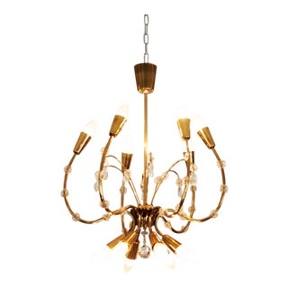 Mid-Century Brass Chandelier by Emil Stehnar for Rupert Nikoll For Sale