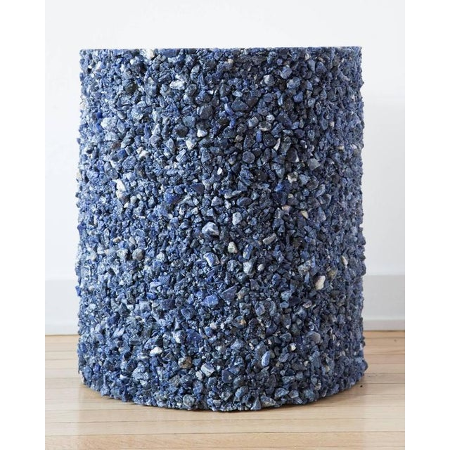 Stone Hand Made Blue Sodalite and White Plaster Drum, Side Table by Samuel Amoia For Sale - Image 7 of 9