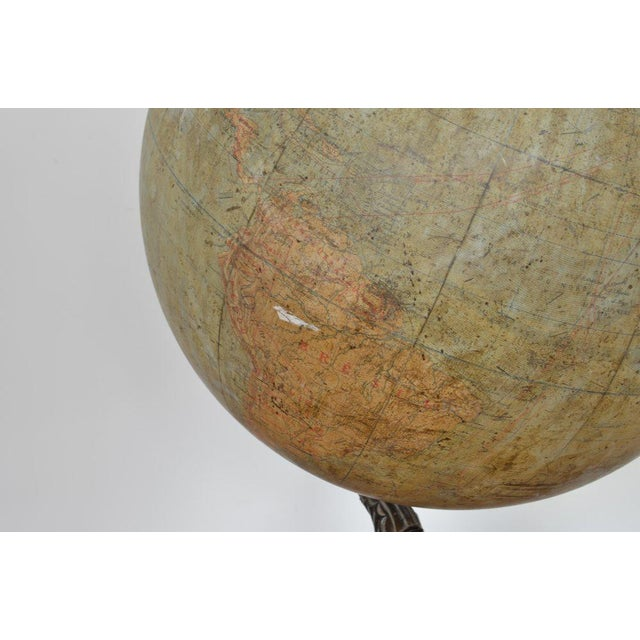 Early 20th Century Early 20th C French Antique Globe Terreste With Cast Iron Base For Sale - Image 5 of 6