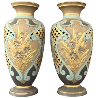 Pair of Royal Daulton Lambeth Silicon Ware Vases For Sale