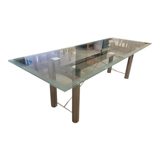 Stainless Steel & Tempered Glass Conference Table or Desk For Sale