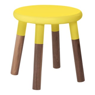 Peewee Kids Chair in Walnut With Yellow Finish For Sale