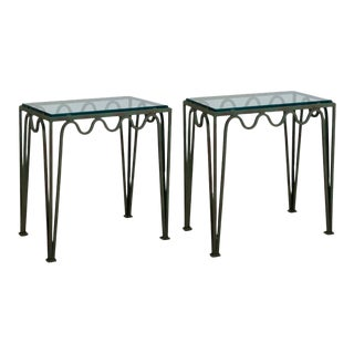 Méandre' Verdigris and Glass Night Stands by Design Frères - a Pair For Sale