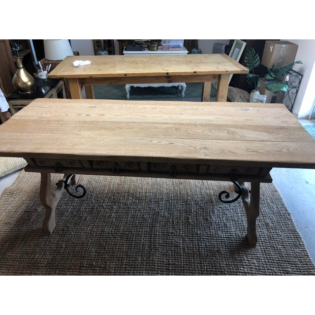 1900 - 1909 Antique English Oak Farm Table with Iron Stretcher and Drawers For Sale - Image 5 of 10