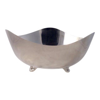 Vintage Contemporary Wave Shape Silverplate Footed Bowl For Sale
