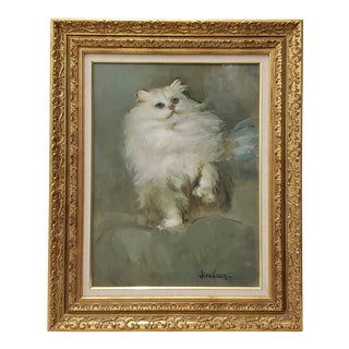 """Vintage """"Fluffy White Cat"""" Oil Portrait Painting by Jean Henry For Sale"""