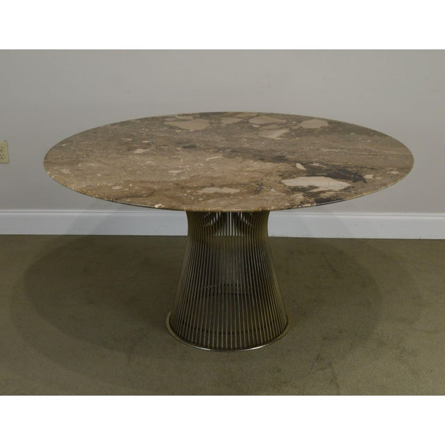 High Quality American made Chromed Steel Frame Pedestal Dining Table Designed by Warren Platner for Knoll with Thick...