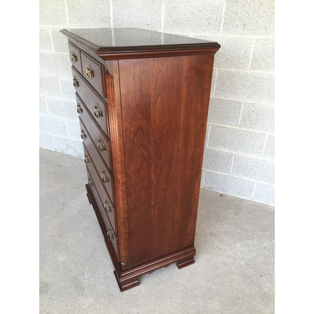 Chippendale Colonial Furniture Solid Cherry 7 Drawer High Chest For Sale - Image 3 of 9