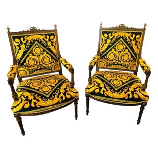 Pair of 19th-20th Century Louis XVI Style Carved Armchairs For Sale