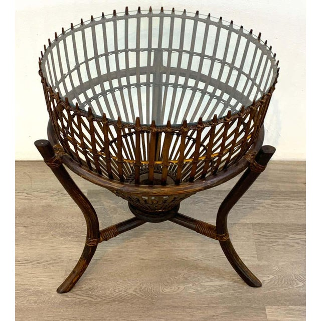 Mid-Century Modern Franco Albini Style Fish Trap Rattan and Glass Side Table, Restored For Sale - Image 3 of 5