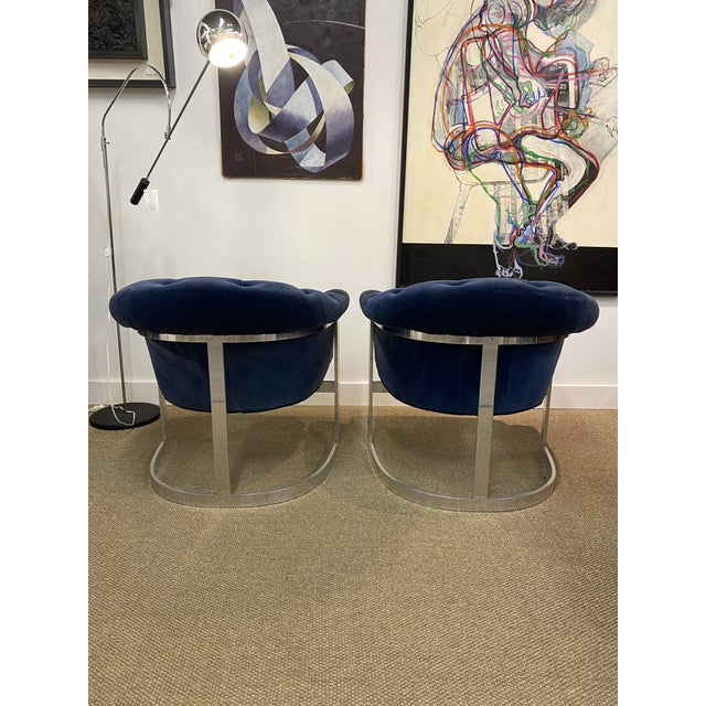 Milo Baughman for Thayer Coggin Vintage Milo Baughman Thayer Coggin Cantilever Chrome Tufted Club Chairs Navy Blue - a Pair For Sale - Image 4 of 8
