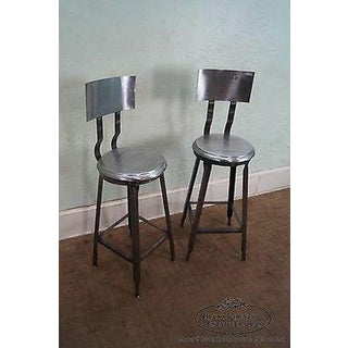 Heavy Industrial Steel Pair of Bar Stools (A) Preview