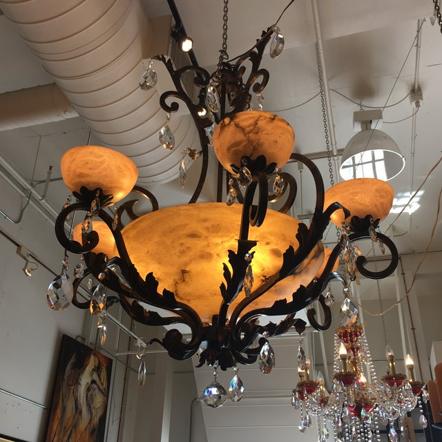 Traditional Frederick Ramond 10 Light French Marble & Alabaster Crystal Chandelier For Sale - Image 3 of 8