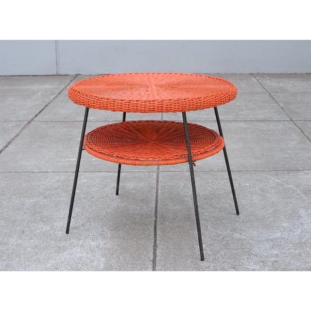 Red 1950s Mid-Century Modern Carl Aubock Style Red Rattan & Wrought Iron 2-Tier Side Table For Sale - Image 8 of 8