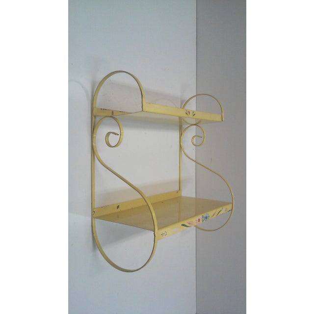 Vintage Hand Painted Yellow Wall Shelf - Image 2 of 6