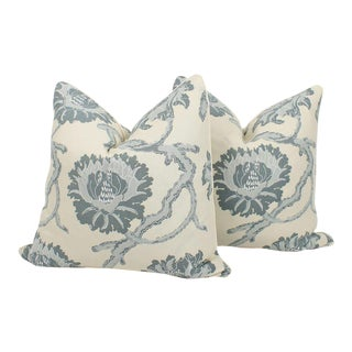 Pale Blue and Ivory Peony Floral Pillows, a Pair