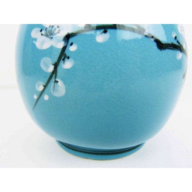 Japanese Blue Glaze Hand Painted Blossom Vase - Image 6 of 7
