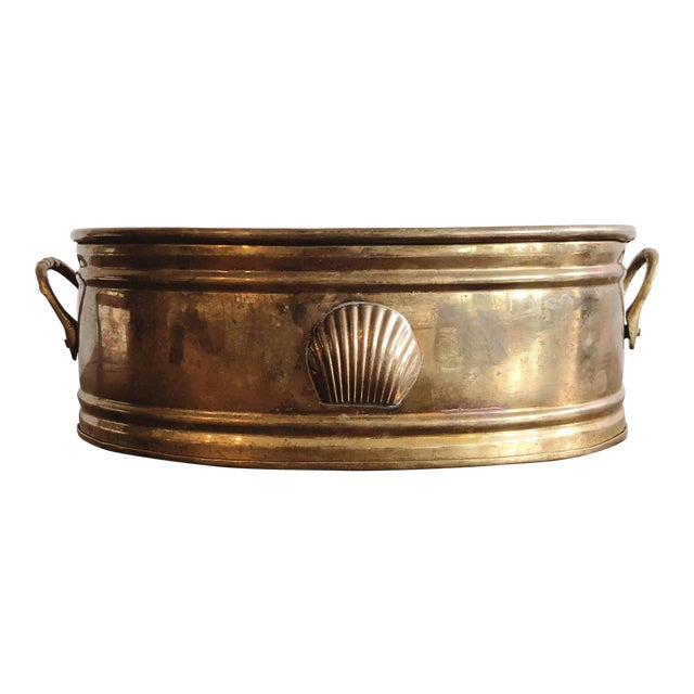Vintage Brass Oval Planter With Seashell For Sale