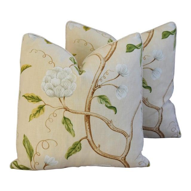 Designer Cowtan & Tout Snow Tree Linen Pillows - A Pair For Sale