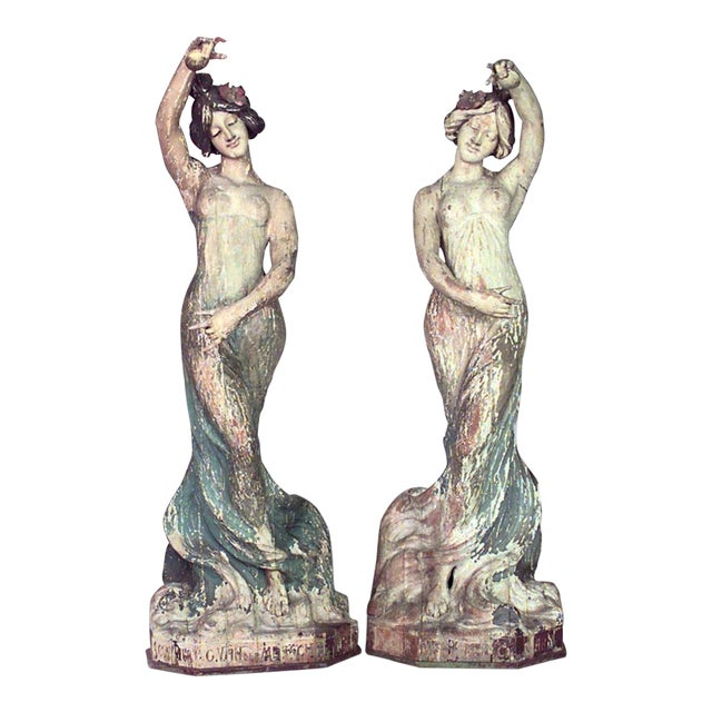 Pair of Art Nouveau Life Size Carved Wood Figures of Dancing Women For Sale